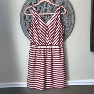 🍬 Loft red and white striped sleeveless dress